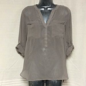 Sheer Taupe Roll Tab Sleeve Apt. 9 Blouse